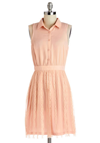 Sweeten It Up Dress - Pink, Solid, Buttons, Lace, Casual, A-line, Sleeveless, Summer, Woven, Good, Collared, Mid-length, Lace, Orange