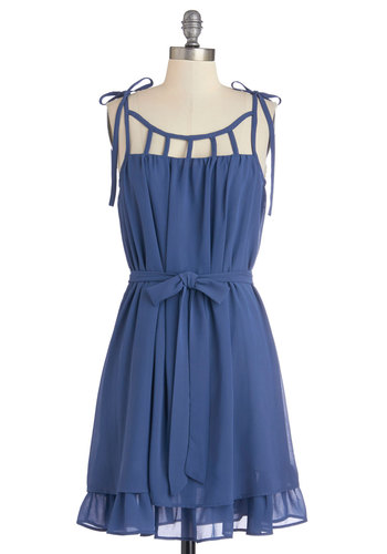 Better Adorable Than a Window Dress - Blue, Solid, Cutout, Belted, A-line, Sleeveless, Woven, Good, Scoop, Mid-length, Daytime Party