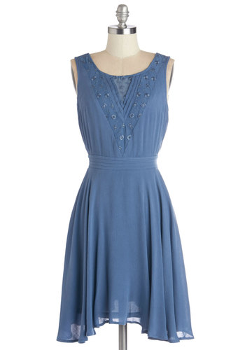 Sway It Like You Mean It Dress - Blue, Solid, Eyelet, Pleats, A-line, Sleeveless, Woven, Better, Scoop, Mid-length, Casual