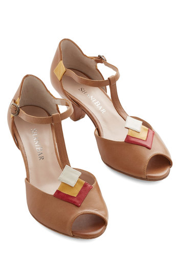 Keen on the Scene Heel - Multi, Solid, Wedding, Party, Daytime Party, Vintage Inspired, 40s, Peep Toe, T-Strap, Mid, Leather, Brown