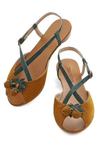 Pining for Summer Sandal - Green, Solid, Flat, Leather, Suede, Brown, Rustic