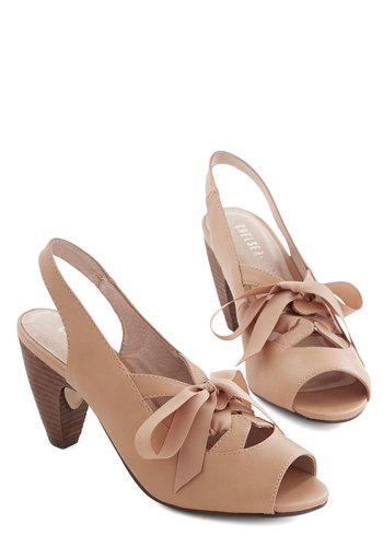 Savvy Shade Heel by Chelsea Crew - Mid, Tan, Solid, Cutout, Special Occasion, Bridesmaid, Spring, Summer, Lace Up, Slingback, Daytime Party, Peep Toe