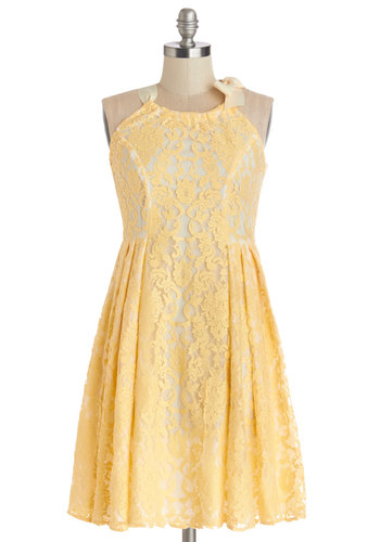 Lemonade in the Shade Dress in Fresh-Squeezed - White, Lace, Pleats, Graduation, Pastel, A-line, Sleeveless, Summer, Better, Halter, Woven, Lace, Yellow, Daytime Party, Mid-length