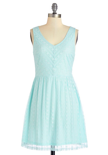 Carefree for All Dress - Blue, Solid, Lace, Casual, Pastel, A-line, Sleeveless, Summer, Good, V Neck, Knit, Lace, Short