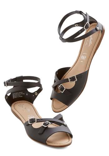 You Know Me Sandal in Black by Seychelles - Flat, Leather, Black, Solid, Buckles, Casual, Summer, Variation