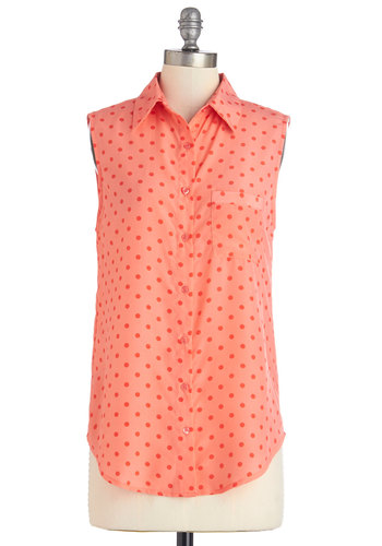 Merriment on My Mind Top in Coral - Long, Coral, Polka Dots, Buttons, Pockets, Casual, Sleeveless, Spring, Summer, Variation, Collared, Orange, Sleeveless, Good
