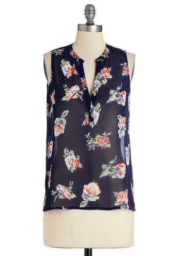 Vicarious Verve Top - Sheer, Mid-length, Black, Floral, Sleeveless, Spring, Summer, Black, Sleeveless, Good