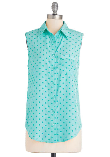 Merriment on My Mind Top in Turquoise - Long, Blue, Polka Dots, Buttons, Pockets, Casual, Sleeveless, Spring, Summer, Variation, Collared, Blue, Sleeveless, Good