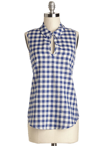 Cookout Cameo Top - Mid-length, Blue, White, Checkered / Gingham, Cutout, Casual, Rockabilly, Vintage Inspired, 50s, 60s, Americana, Sleeveless, Spring, Summer, Collared, Blue, Sleeveless, Cotton, Woven, Good, Press Placement