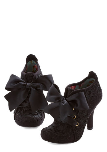Strut You Wanted Heel in Black by Irregular Choice - High, Woven, Mixed Media, Velvet, Black, Solid, Crochet, Special Occasion, Party, Lace Up, French / Victorian, Variation, Social Placements