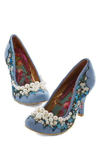 Ode to Opulence Heel by Irregular Choice - Woven, Mixed Media, High, Blue, Floral, Pearls, Party, Scallops