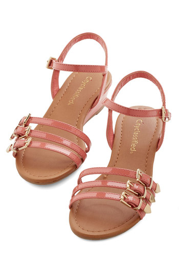 Terrific Trifecta Wedge - Low, Faux Leather, Pink, Solid, Daytime Party, Wedge, Strappy, Summer