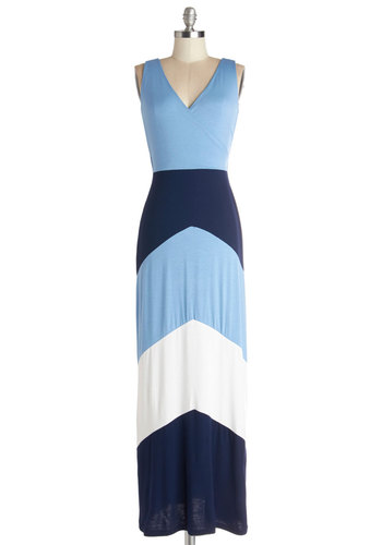 A Blue Sensation Dress - Casual, Beach/Resort, Colorblocking, Maxi, Sleeveless, Summer, Knit, Good, V Neck, Long, Jersey, Blue, Chevron