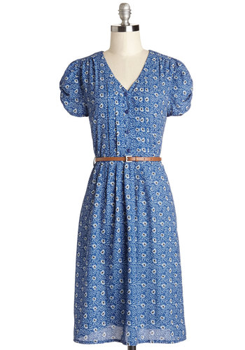 Take to the Wind Dress in Blue Paisley - Blue, White, Paisley, Buttons, Belted, Casual, A-line, Shirt Dress, Short Sleeves, Better, Variation, V Neck, Woven, Pleats, Print, Vintage Inspired, 40s, Best Seller, Mid-length