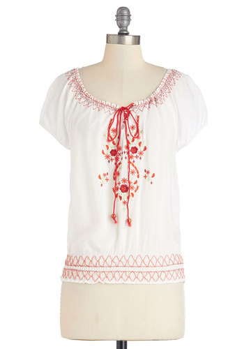 How Do You Didgeridoo? Top - Mid-length, White, Red, Floral, Embroidery, Casual, Boho, Festival, Short Sleeves, Spring, Summer, White, Short Sleeve, Vintage Inspired, 70s, Good