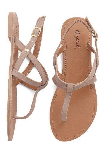 Purlieu Promenade Sandal - Flat, Faux Leather, Tan, Solid, Beach/Resort, Summer, Good, T-Strap, Variation, Casual