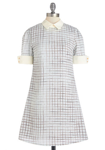Ready to Deco Dress in Lattice by Miss Patina - Blue, Checkered / Gingham, Buttons, Casual, Pastel, Shift, Short Sleeves, Summer, Woven, Better, Collared, Vintage Inspired, 60s, Mid-length, Brown