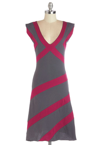 Layout of the Land Dress - Eco-Friendly, Grey, Pink, Stripes, Casual, A-line, Cap Sleeves, Better, Knit, Long, V Neck