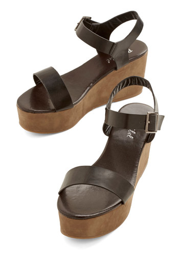 Urban Winery Tour Sandal - Mid, Faux Leather, Black, Tan / Cream, Colorblocking, Minimal, Summer, Platform, Wedge, Vintage Inspired, 70s