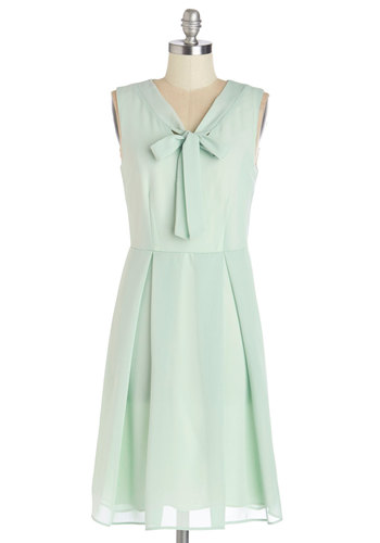 Pondside Processional Dress in Foliage - Woven, Mid-length, Mint, Solid, Tie Neck, Special Occasion, Wedding, Graduation, Bridesmaid, A-line, Sleeveless, Better, V Neck, Pastel, Variation, Work