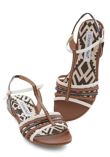 Flashlights and Fireflies Sandals - Brown, Black, White, Beach/Resort, Boho, Summer, Flat, Good, Strappy, Faux Leather