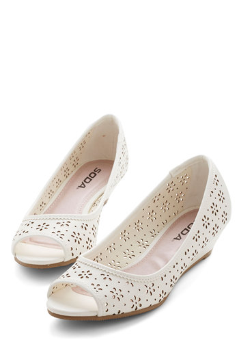 New Best Friends Wedge - White, Solid, Floral, Cutout, Party, Daytime Party, Good, Wedge, Low, Faux Leather, Peep Toe