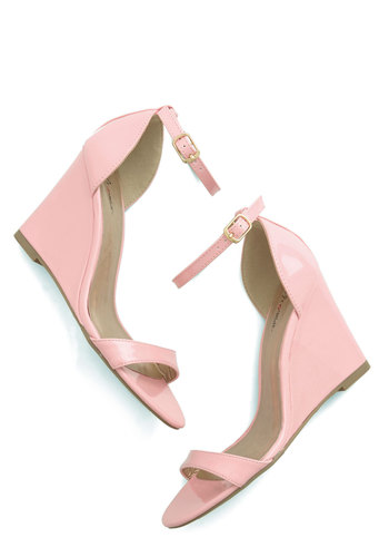One Suite Day Wedge in Bubblegum - Mid, Faux Leather, Pink, Solid, Wedding, Party, Spring, Summer, Platform, Wedge, Daytime Party, Pastel, Variation, Top Rated