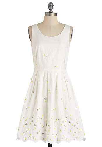 Call It a Daisy Dress - White, Yellow, Floral, Embroidery, Pleats, Scallops, Casual, A-line, Sleeveless, Summer, Woven, Better, Scoop, Mid-length, Cotton