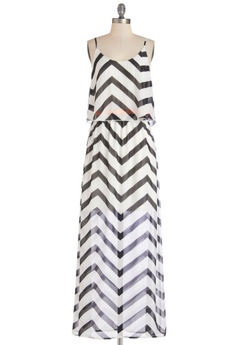 Keep Things Light Dress - Black, Chevron, Belted, Casual, Beach/Resort, Maxi, Sleeveless, Summer, Woven, Scoop, Long, Chiffon, Sheer, White