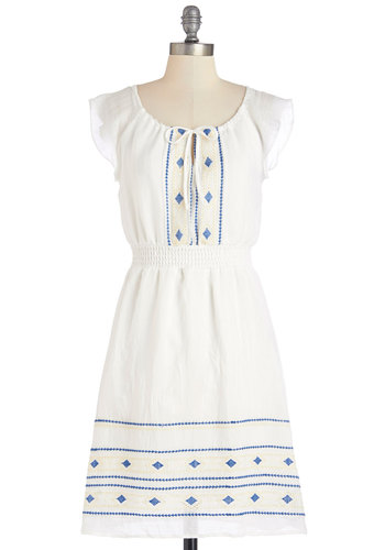 Concert in the Grass Dress - White, Blue, Embroidery, Tie Neck, Casual, Boho, Festival, A-line, Sleeveless, Summer, Woven, Scoop, Social Placements, Short