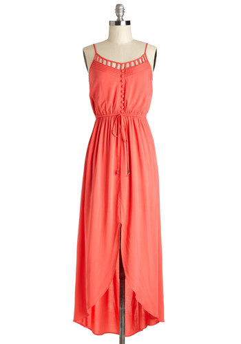 Fire and Spice Dress - Maxi, Coral, Solid, Buttons, Cutout, Casual, Festival, Spaghetti Straps, Long, Woven, Summer, Boho