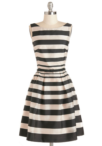 The Art of Enchantment Dress - Prom, Multi, Stripes, Belted, Special Occasion, Party, Fit & Flare, Sleeveless, Woven, Better, Mid-length, Boat