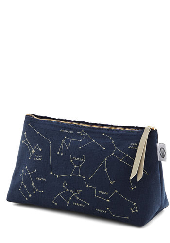 Celestial Chateau Makeup Bag - Woven, Nifty Nerd, Cosmic, Good, Blue, Tan / Cream, Novelty Print, Travel, Top Rated