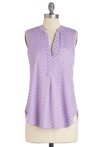Grace Value Top - Mid-length, Woven, Lavender, Pastel, Sleeveless, Spring, Summer, Purple, Sleeveless, Novelty Print, Pockets, Casual