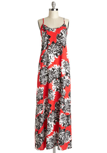 Sunrise Serenade Dress - Maxi, Floral, Casual, Summer, Woven, Good, Scoop, Long, Multi, Red, Black, White, Pockets, Beach/Resort, Spaghetti Straps