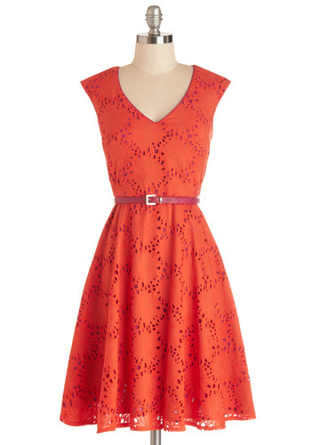 Efflorescent Entrance Dress - Orange, Pink, Eyelet, Belted, A-line, Cap Sleeves, Summer, Better, V Neck, Cotton, Woven, Daytime Party, Graduation, Mid-length