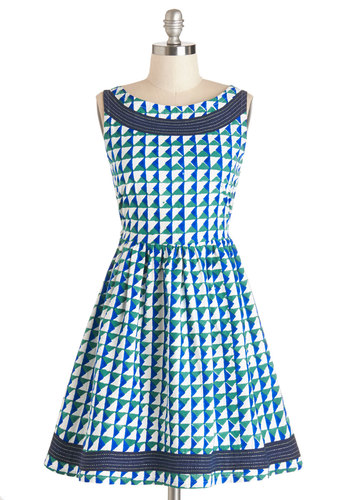 Points for Professionalism Dress by Mata Traders - Print, Trim, Casual, A-line, Sleeveless, Woven, Better, Multi, Green, Blue, White, Eco-Friendly, Boat, Cotton, Mid-length, Pockets