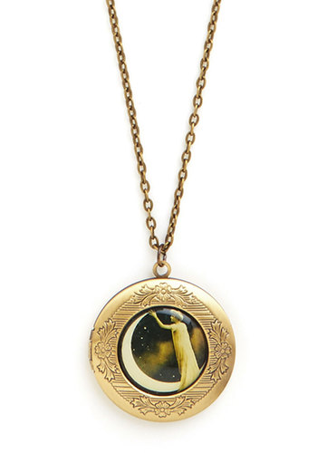Declare de Lune Necklace - Black, White, Gold, Novelty Print, Vintage Inspired, 20s, Top Rated