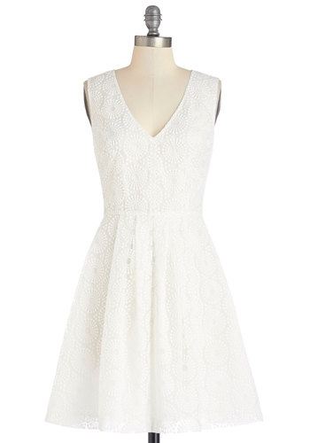 Plenty by Tracy Reese Cute Cumulus Dress by Plenty by Tracy Reese - White, Embroidery, Daytime Party, Graduation, A-line, Sleeveless, Summer, Woven, Better, V Neck, Mid-length, Sundress