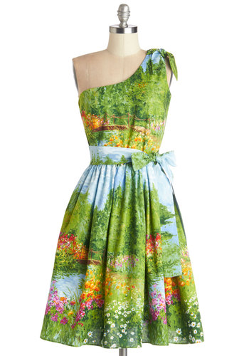 Prettiest of All the Landscape Dress - Green, Multi, Print, Belted, Fit & Flare, One Shoulder, Summer, Best, Mid-length, Cotton, Woven, Novelty Print, Pockets, Daytime Party, Graduation