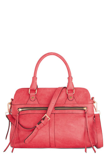 Bright of Way Bag - Solid, Exposed zipper, Better, Orange, Faux Leather, Pink, Work, Social Placements