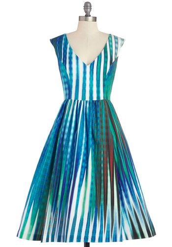 Tracy Reese Prismatic Appeal Dress by Tracy Reese - Multi, Print, Daytime Party, A-line, Sleeveless, Best, V Neck, Long, Woven, Exposed zipper