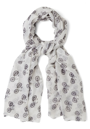It's a Cycle Scarf - White, Black, Novelty Print, Casual, White, Woven, Summer, Social Placements