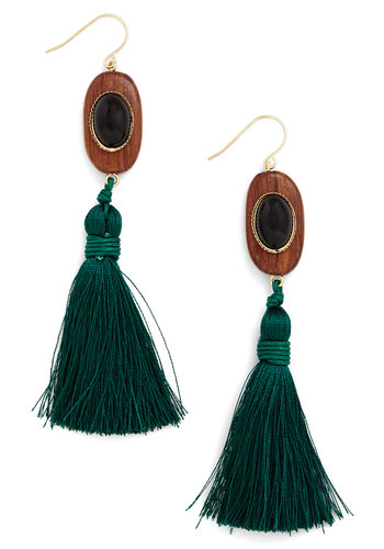 Tassel Dazzle Earrings - Green, Tan / Cream, Black, Solid, Tassels, Better, Mixed Media, Fringed, Boho, Vintage Inspired, 70s, Festival, Gold, Statement, Fall