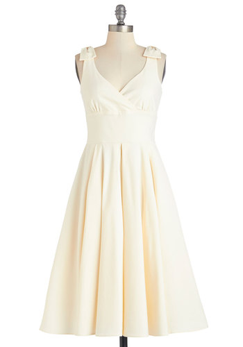 And Bow It Goes Dress - Cream, Solid, Bows, Pleats, Special Occasion, Wedding, Bride, A-line, Sleeveless, Summer, Better, Long, Knit