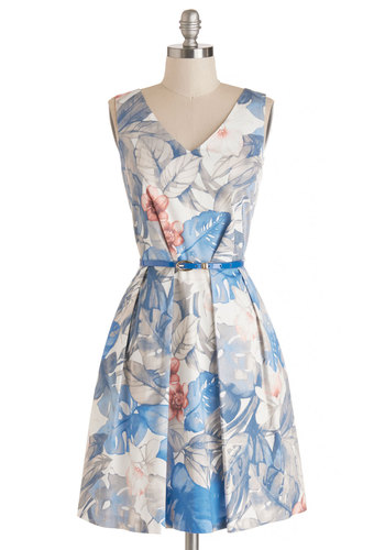 Make a Grand Entrance Dress in Bouquet by Closet London - Blue, Multi, Floral, Pleats, Belted, Daytime Party, Graduation, A-line, Sleeveless, Better, V Neck, Backless, Exposed zipper, Pockets, Social Placements, Mid-length