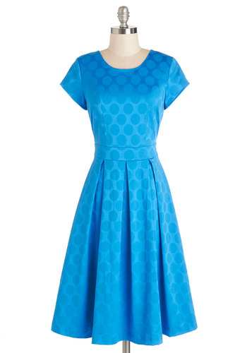 Shine the Dotted Line Dress - Blue, Polka Dots, Pleats, Daytime Party, A-line, Short Sleeves, Woven, Good, Scoop, Exposed zipper, Party, Long