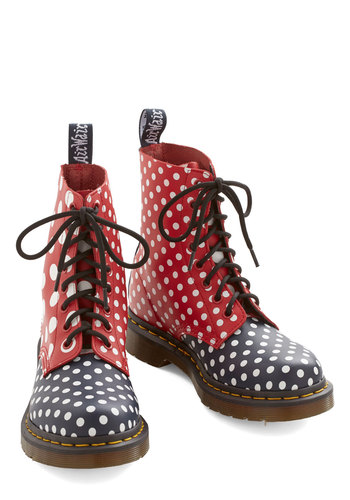Too Polka Dot to Trot Boot by Dr. Martens - Low, Leather, Multi, Red, Blue, White, Polka Dots, Casual, Vintage Inspired, 90s, Lace Up