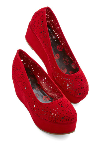 Head Start on Style Flatform - Mid, Velvet, Platform, Wedge, Red, Solid, Cutout, Party, Girls Night Out, Valentine's, Better, Skulls