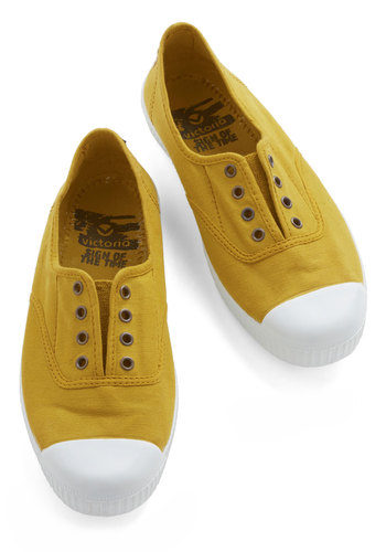 Tread Over Heels Flat in Mustard - Flat, Woven, Yellow, Solid, Casual, Better, Variation, Summer